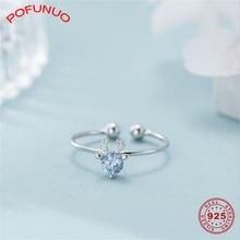 Pofunuo 100% 925 пробы серебряные кольца с синим цирконием инкрустация