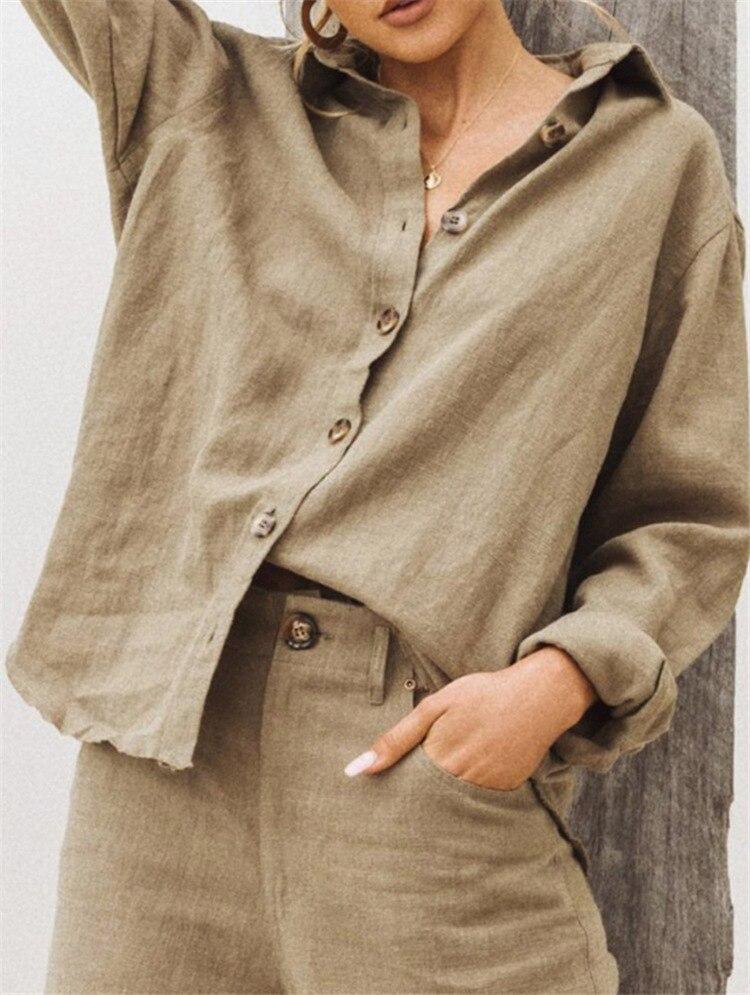 Белая Осенняя блузка для женщин с длинным рукавом из хлопка и льна, Женские топы и блузки для работы, элегантная рубашка, Топ для женщин, Blusas ...