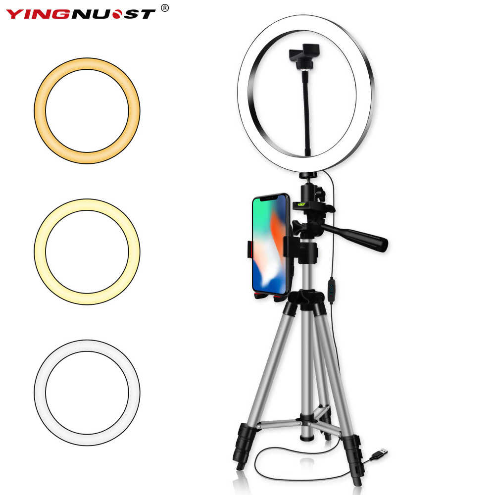 6/8/10'' Dimmable LED Ring Light Camera Tripod Stand Kit With Phone Holder for Youtube Video Makeup Live Stream Selfie Ring Lamp