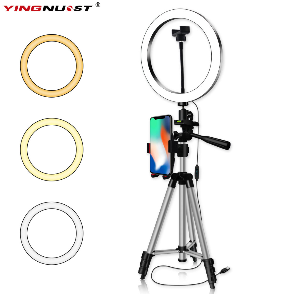 6/8/10'' Dimmable LED Ring Light Camera Tripod Stand Kit With Phone Holder for Youtube Video Makeup Live Stream Selfie Ring Lamp image