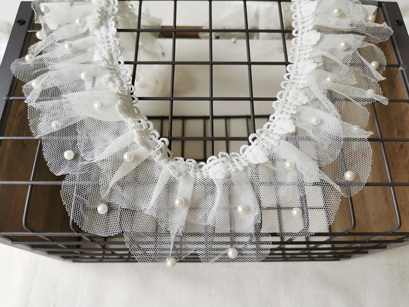 8cm Wide White Double Pleated Mesh Beaded Beautiful Ribbon Lace Fabric DIY Wedding Dress Skirt Curtain Accessories Doll Trim