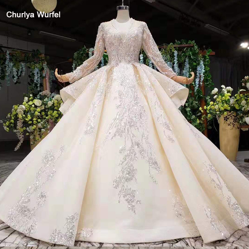 HTL1028 Simple Wedding Dress Boho Long Sleeve V Neck Pattren Champagne Wedding Gown With Train Vestido Largos De Fiesta De Noche