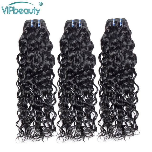 Vip Beauty Brazilian Hair Weave Bundles Water Wave 100% Human Hair 1/2/3/4 Bundles Natural Color Remy Hair Extensions