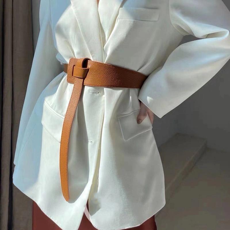 Designer belts for women high quality ladies waist cummerbunds soft pu leather belt knot dress ceinture femme adjustable cintos