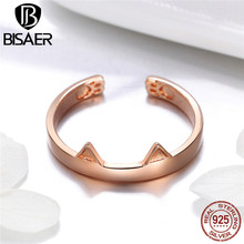 Cat Silver Ring for Women Rose Gold Color Plated Pet Animal Finger Girl Birthday Gift Luxury Jewelry GXR387