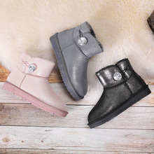 SP&CITY Crystal Patent Leather Women Winter Shoes Thickening Keep Warm Boots For Snow Woman Short Ankle