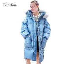 2019 Winter thick fur collar down jackets women cute warm long hooded coats все цены