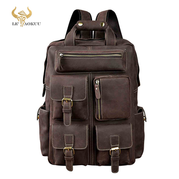 Men Original Leather Fashion Travel University College School Book Bag Designer Male Backpack Daypack Student Laptop Bag 1170 new design male real cowhide leather casual travel bag school backpack daypack for men 2107
