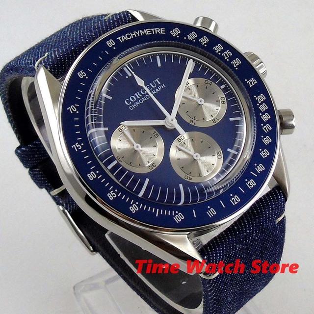 Corgeut 40mm montre hommes étanche quartz toile bracelet chronographe complet cadran bleu lunette lumineuse arrêt poignet C177B
