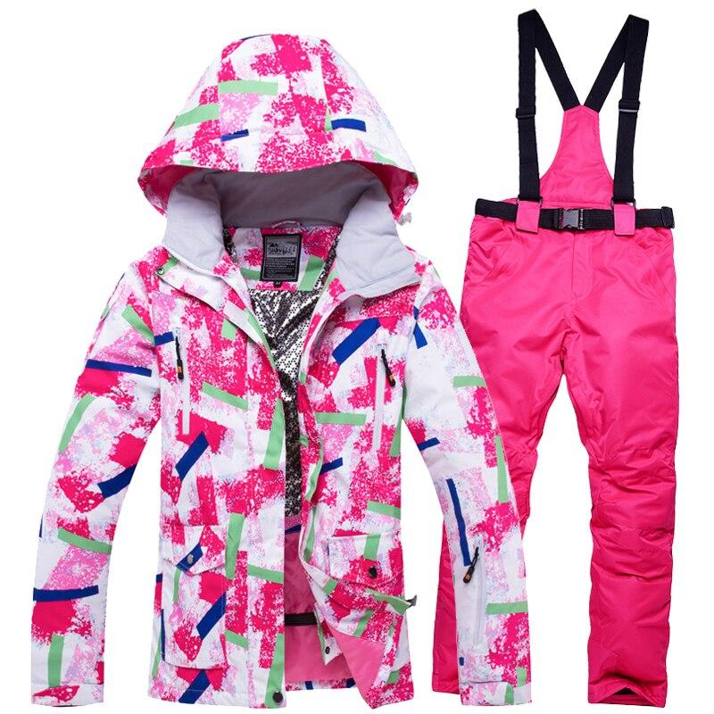 Jacket + Strap Pant Women's Snow Suit Set Outdoor Sports Outfit Snowboarding Clothe Waterproof Windproof Winter Costume Ski Wear