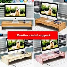 Monitor Riser Computer Stand for Desk HD Wood Sturdy Stable Anti-Skid Back Saver Laptop Riser Shelf For  iMac PC Printer