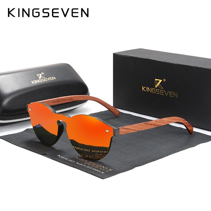 Custom LOGO Natural Wooden Sunglasses KINGSEVEN Bubinga Men's Polarized Glasses Wooden Fashion Sun Glasses Original Accessories 6