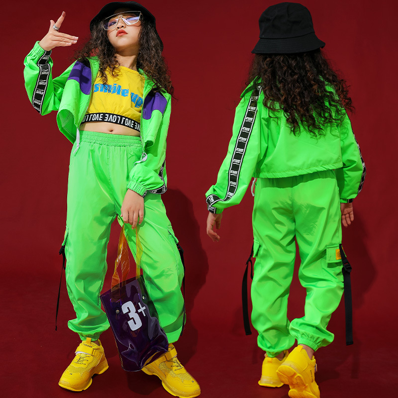 Girls Kids Street Dancing Costume Hiphop Jazz Cropped  Fluorescent Green Pants Jazz Clothes Stage Show Clothing 8 10 12 14 16 Y