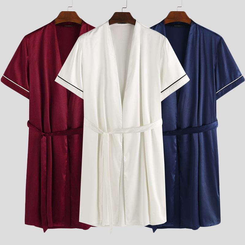 INCERUN Mens Silk Stain Pajamas Robe Man Bath Short Sleeve V-Neck Sleepwear Male Solid Color Nightgowns Silky Nightgown Set 5XL