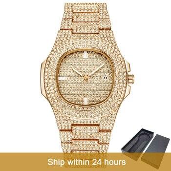 Дропшиппинг роскошные часы с бриллиантами для мужчин золотые хип-хоп часы со льдом мужские золотые кварцевые часы из нержавеющей стали relogio