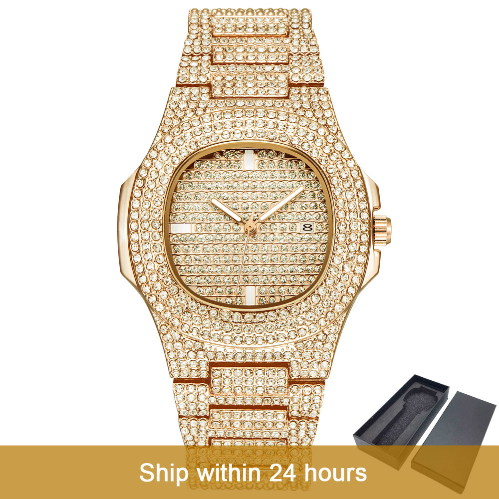 Dropshipping  ICE Out Bling Diamond Luxury Watch Men Gold Hip Hop iced out watch Men Gold Quartz Watches Stainless Steel relogio|Lover's Watches| |  - title=