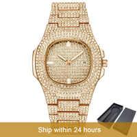 Dropshipping gelo-para fora bling diamante relógio de luxo masculino ouro hip hop ice-out relógio de quartzo relógios de aço inoxidável relogio