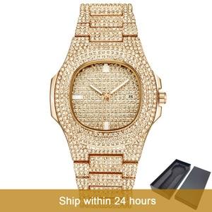 Image 1 - Dropshipping gelo para fora bling diamante relógio de luxo masculino ouro hip hop ice out relógio de quartzo relógios de aço inoxidável relogio