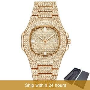 Image 1 - Dropshipping קרח החוצה בלינג יהלומי יוקרה שעון גברים זהב היפ הופ אייס מתוך שעון גברים זהב קוורץ שעונים נירוסטה פלדת relogio