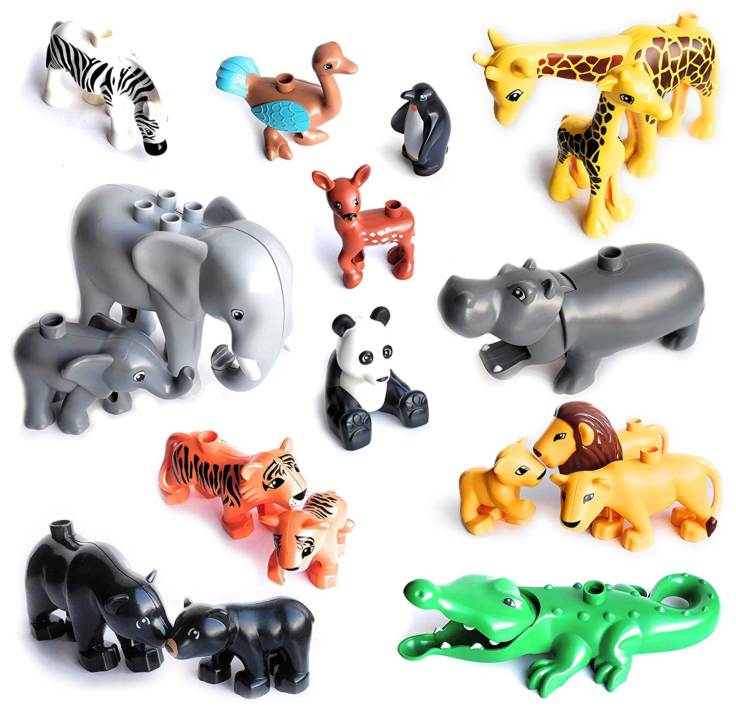 Duploe Big Size Diy Building Blocks Animal Accessories Figures Lion Panda Compatible with Duploed Toys for Children Kids Gifts(China)