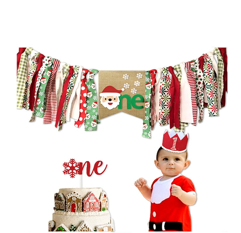Christmas Birthday Decoration Set Baby Birthday Cap Cake Insert Children's Dining Chair Flag Party Decoration