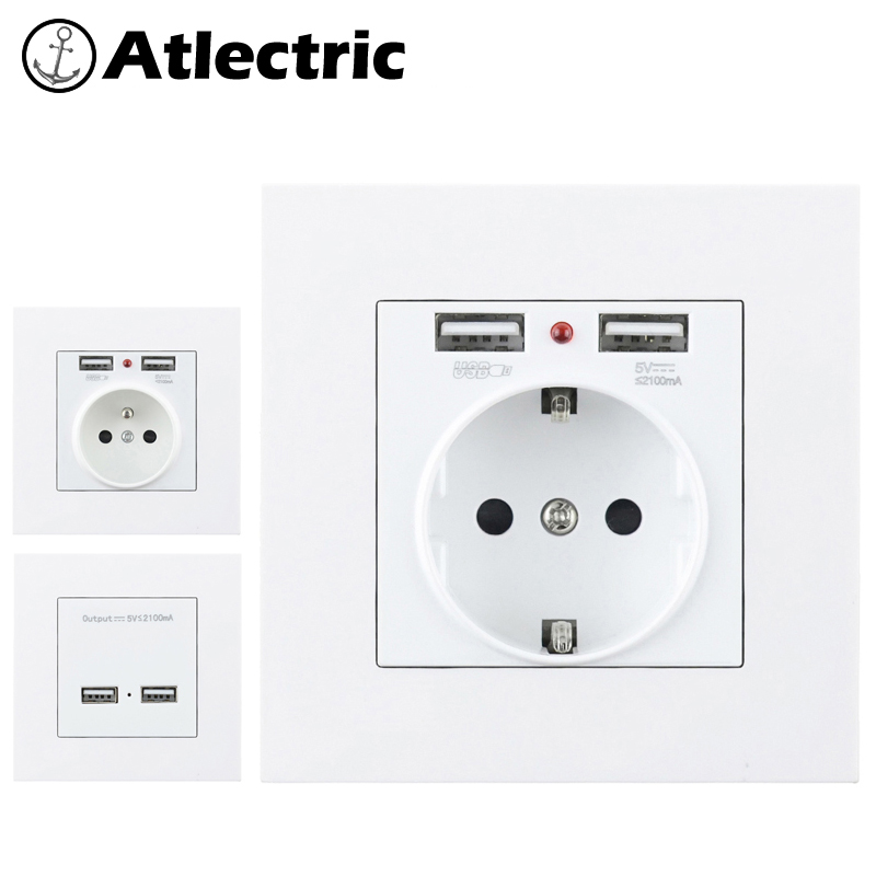 Atlectric 16A EU FR French Standard Power Socket PC Plastic Panel Socket With Dual USB Ports For Mobile 86mm*86mm Outlet Plug