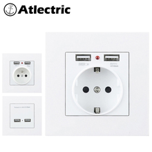 Atlectric 16A EU FR French Standard Power Socket PC Plastic Panel With Dual USB Ports For Mobile 86mm*86mm Outlet Plug