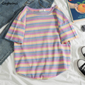 T-shirts Frauen Sommer Gestreiften Oansatz Kurzarm Oversize Regenbogen Ins Freizeit Koreanische Art-Frauen T-shirts Chic Süße Alle-spiel
