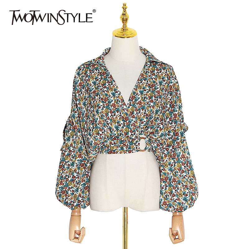 TWOTWINSTYLE Vintage Print Hit Color Shirt For Women V Neck Backless Lantern Long Sleeve Shirt Female 2020 Summer Fashion New