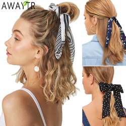 AWAYT Bohemian Scrunchies Hair Ring Fashion Ribbon Elastic Bow Girl Hair Bands Horsetail Tie Solid Ponytail Hair Accessories