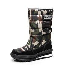 Для мужчин камуфляжные сапоги зимние Для мужчин обувь для дождливой погоды, резиновые сапоги Водонепроницаемый с плюшевые ботинки с мехом; теплые ботинки мужской Повседневное, высота до середины голени, рабочие сапоги для рыбалки D25