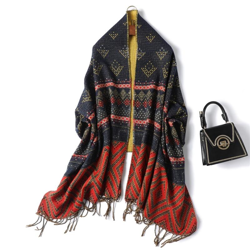 Damenschal Unifarbe Kaschmir Lange Schal Wrap Warm Tassels Winterschal Herbst