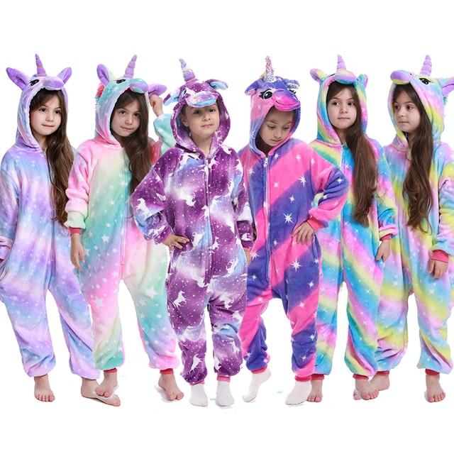 Flannel Unicorn for Kids Pajamas Boys Girls Sleepwear Children Panda Jumpsuit Kids oneises for Licorne Jumpsuit 1