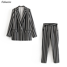 Women Pantsuits 2019 Fall New Fashion Long Sleeve Black White Striped Pocket Cardigan Trouser Suits Elegant Two Piece Suit