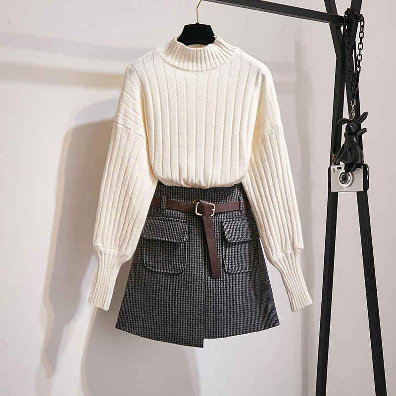 2020 Japan Style 3 pieces packed Women Winter Autumn Skirt sweater wool fabric Woman Bottomwear Top selling kniting wear