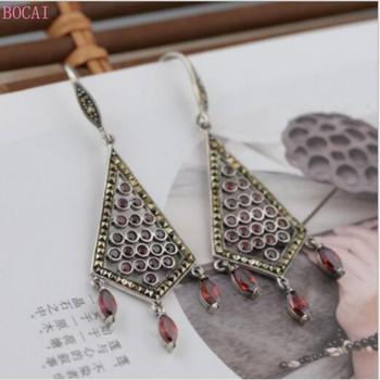 S925 Silver earrings ear drop for women Thai silver earrings women's exquisite fashion jewelry Tassel Earrings