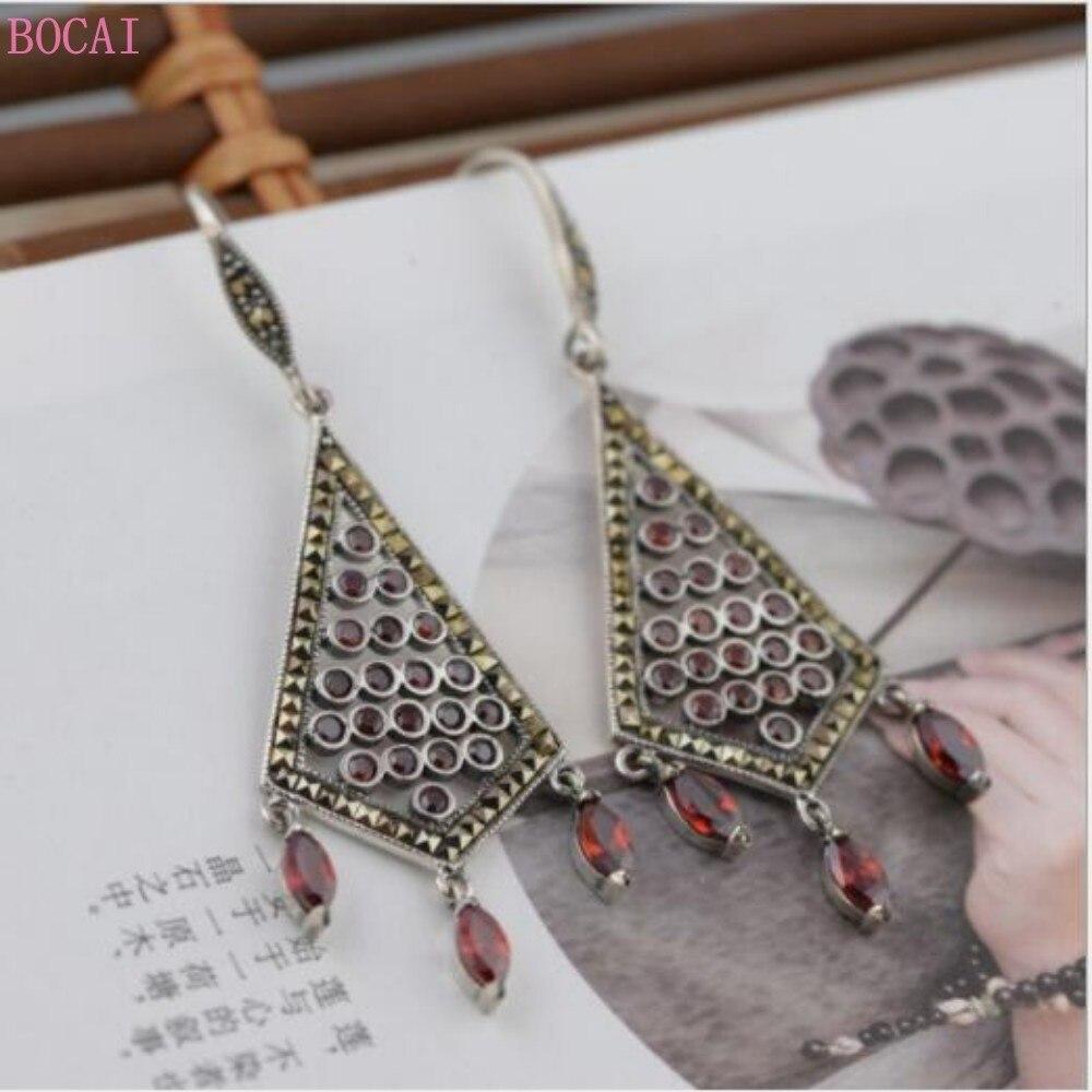 S925 boucles d'oreilles en argent goutte d'oreille pour les femmes Thai argent boucles d'oreilles femmes exquise mode bijoux gland boucles d'oreilles
