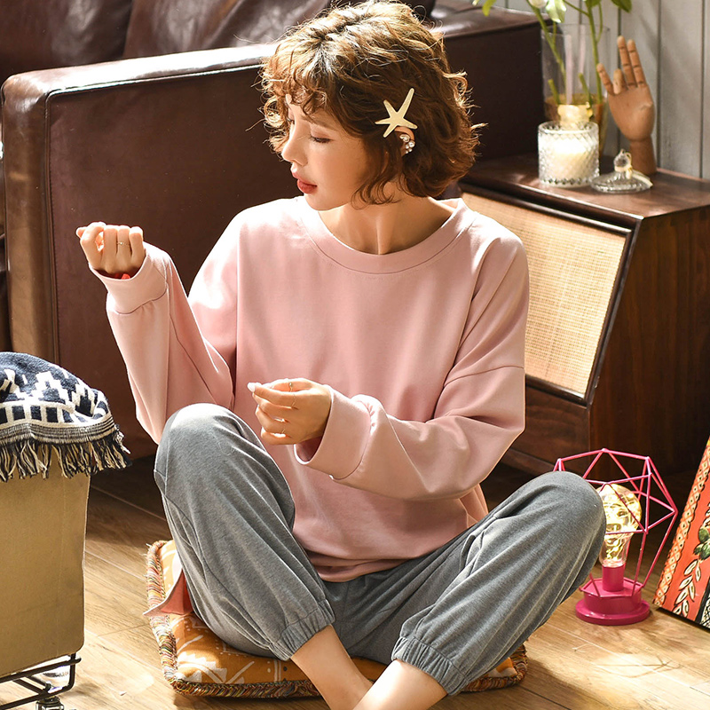 Winter Autumn  Women Cotton Pajamas Sets Cute Long Sleeves Pants Sleepwear Pijamas Casual Homewear
