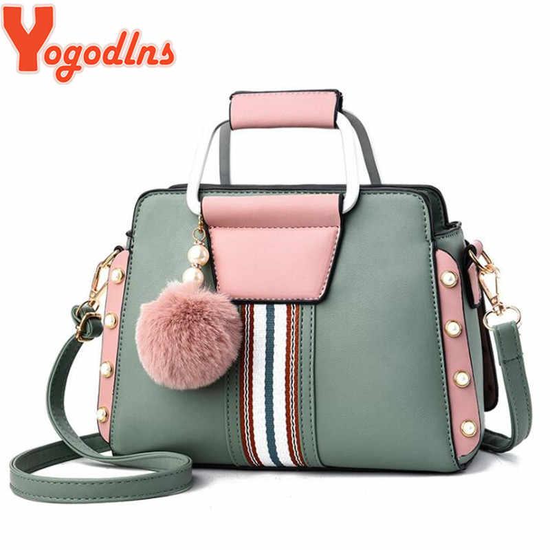 Yogodlns şeker renk Patchwork çanta Crossbody omuz çantaları kadın tüylü Top dekorasyon kadın üst kolu çanta tote ins