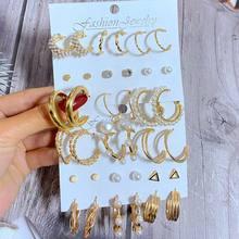 EN – ensemble de boucles d'oreilles EN forme de cercle pour femmes, style Boho, perles, géométrique, EN métal doré, bijoux tendance, cadeaux, 2021