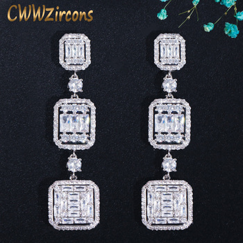 CWWZircons Very Shiny Square White Cubic Zirconia Topaz Silver Long Dangle Drop Engagement Party Earring Jewelry for Women CZ710 cwwzircons long water drop cubic zirconia stone big vintage royal wedding necklace and earring jewelry set for brides t205