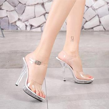 12 CM Height Crystal Slippers Female Summer Waterproof Platform Non-slip Thick Sole Transparent PVC Sandals Womens Pumps 2019 image