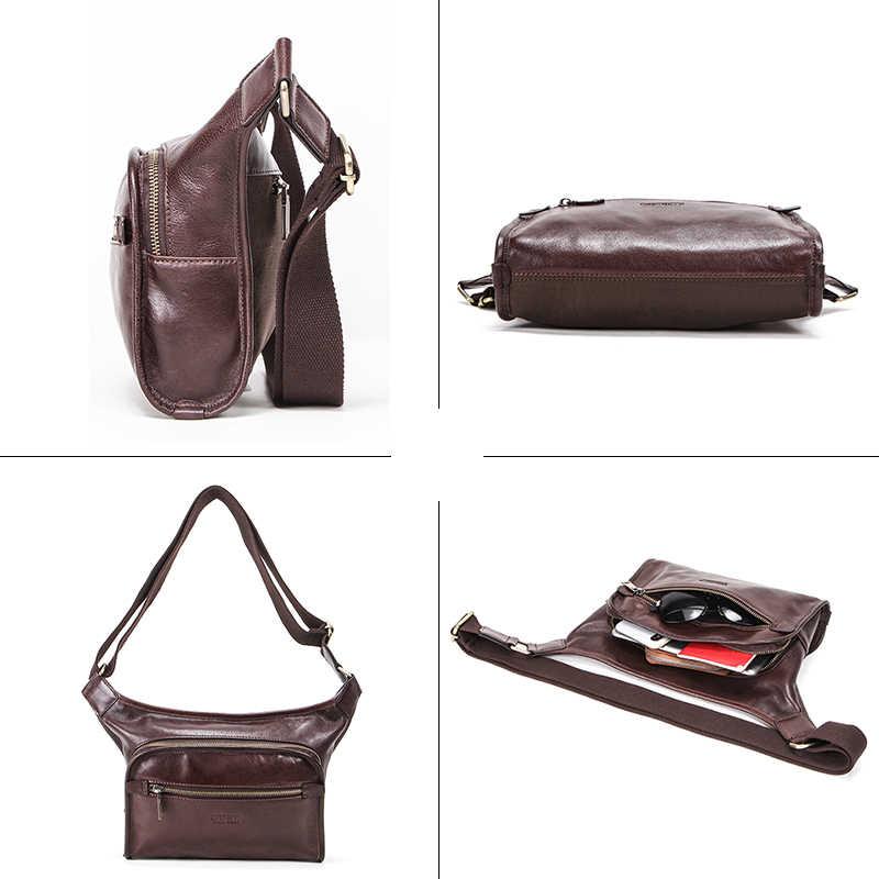 Contact's 100% pacote de cintura de couro genuíno saco de cinto dos homens bolsa de telefone pacotes de cintura de viagem para 7.9 polegada ipad masculino sacos de ombro