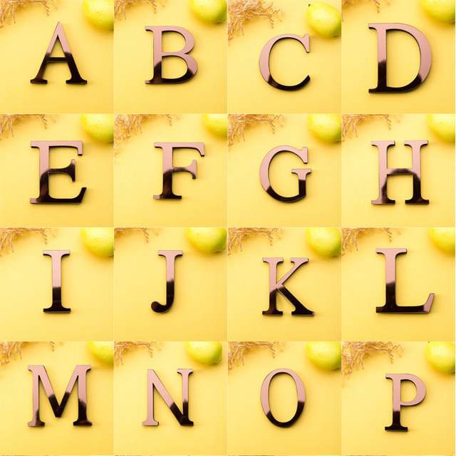 Acrylic Mirror 26 Capitalized English Decorative Scrabble Letters Stickers Alphabet Wedding Decoration Room Door Wall Stickers 4