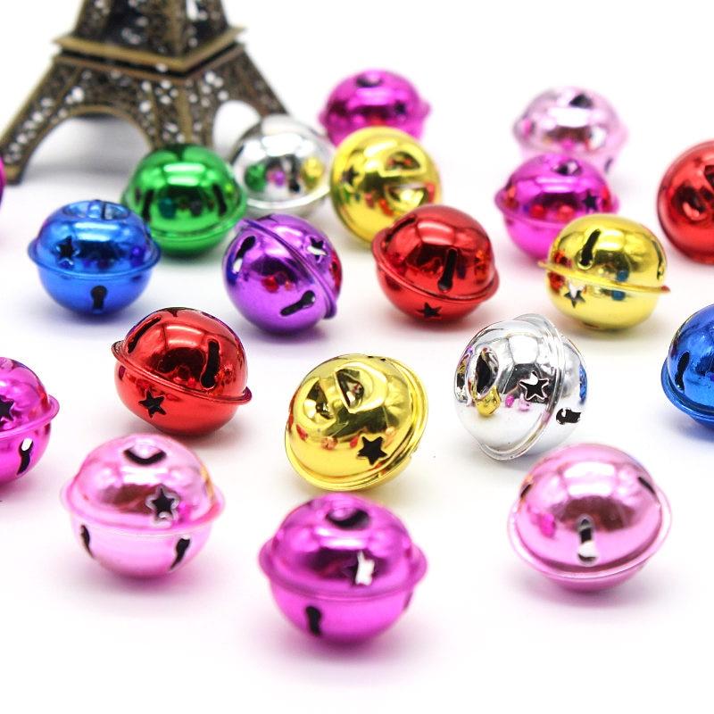 12pcs/pack 23mm Gold Iron Loose Metal Beads Jingle Bells Christmas Decoration Pendant DIY Material Craft Christmas Bells
