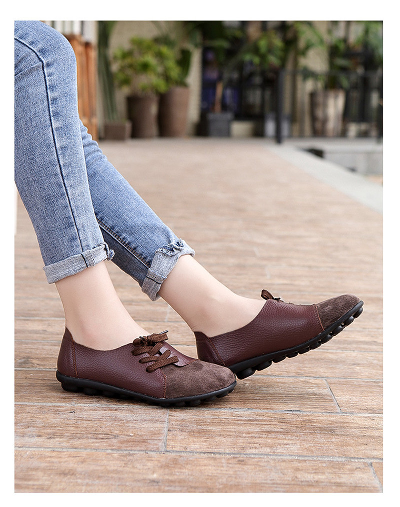 2019 New Leather Women Plus Size Sewing Flats Moccasins Loafers Ballet Flats Women Comfortable Soft Casual Shoes Ladies VT634 (23)