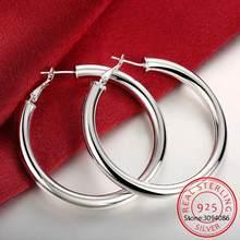 925 brincos de argola de prata esterlina para mulheres brincos redondos mulher sênior brincos de jóias de noivado presente de natal
