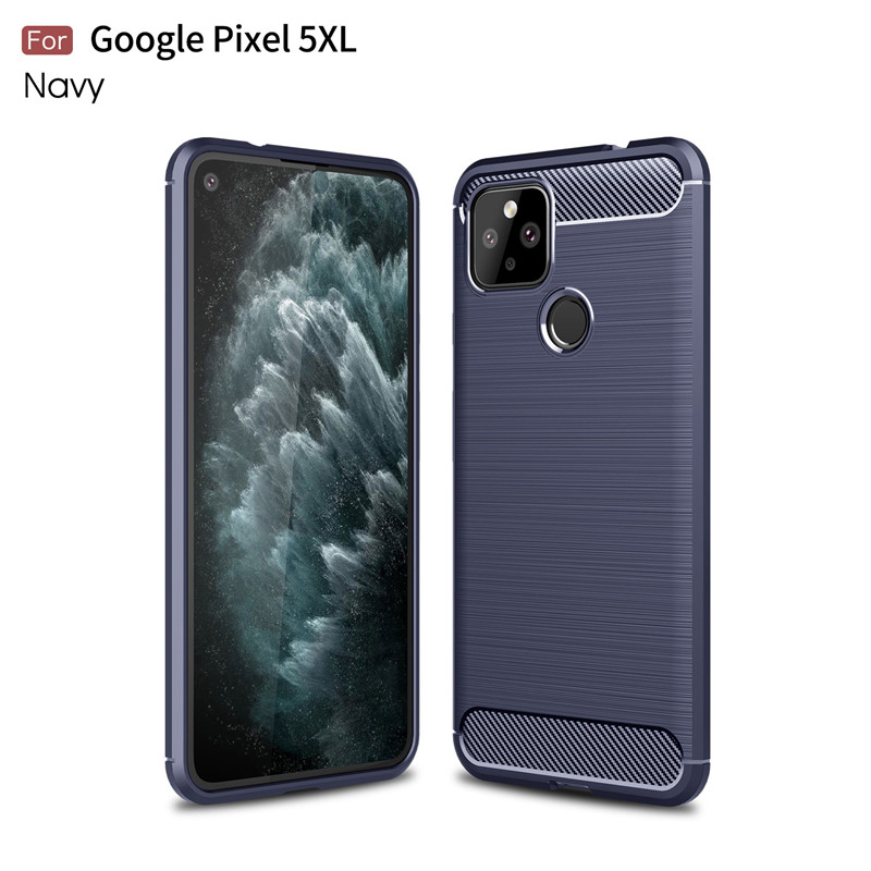 For Google Pixel 5 XL Case Carbon Fiber Shockproof TPU Back Cover For Pixel 5 5XL Silicone Bumper Phone Cases