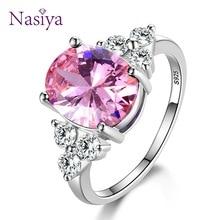 925-Sterling-Silver Rings Zircon Wedding-Ring Women's Jewelry Light-Blue Oval Pink White