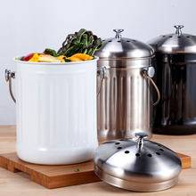 Escaninho de compostagem resíduos vegetais casca doméstico durável cozinha de aço inoxidável filtro de carvão preto reciclagem de resíduos de cozinha bin